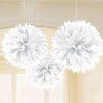 White Paper Fluffy Decorations 40cm - 6 PKG/3