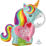 "Unicorn Love Junior Shape Foil Balloons 17""/43cm w x 21""/53cm h S40 - 5 PC"