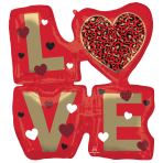 "Love Animal Print SuperShape XL Foil Balloons 27""/68cm w x 29""/73cm h P35 - 5 PC"