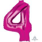 "Number 4 Pink SuperShape Foil Balloons 26""/66cm w x 34""/86cm h P50 - 5 PC"