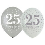 "Sparkling Silver Anniversary 4 Sided Latex Balloons 11""/27.5cm - 6 PKG/6"