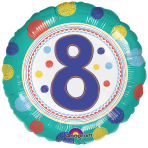SpotOn 8th Happy Birthday Standard Foil Balloons S40 - 5 PC