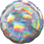 Silver Iridescent Circle Standard HX Packaged Foil Balloons S40 - 5 PC