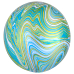 Blue Green Marblez Orbz XL Packaged Foil Balloons G20 - 5 PC