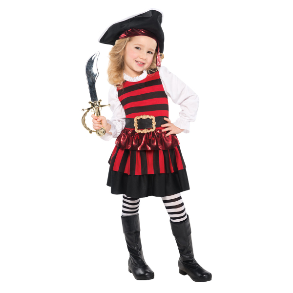 Toddler girls little lass pirate costume age 3 4 years 1 pc