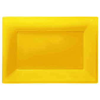 Sunshine Yellow Plastic Serving Platters - 6 PKG/3
