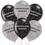 """Congrats Graduate Grey/Black Latex Balloons 11""""/27.5cm - 10 PKG/6"""
