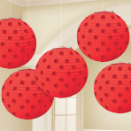 Apple Red Hot Stamped Paper Lanterns 12cm - 6 PKG/5