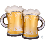 """Happy Father's Day Beer Mug SuperShape Foil Balloons 32""""/81cm w x 25""""/63cm h P35 - 5 PC"""