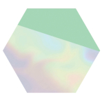 Shimmering Party Hexagonal Iridescent Paper Plates 18cm - 6 PKG/8