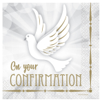 Confirmation Dove Luncheon Napkins 33cm - 6 PKG/16