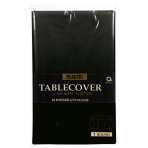 Black Plastic Round Tablecovers 2.13m - 12 PC