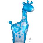 "Dad & Baby Blue Giraffes SuperShape XL Foil Balloons 25""/64cm w x 42""/107cm h P35 - 5 PC"