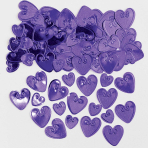 Loving Hearts Purple Embossed Metallic Confetti 14g - 12 PKG