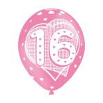 "Age 16 Pink Latex Balloons 11""/27.5cm - 10 PKG/6"