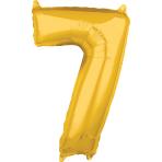 """Number 7 Gold SuperShape Mid-Size Foil Balloons 17""""/43cm w x 26""""/66cm h P31 - 5 PC"""