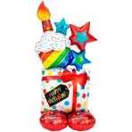 "Stacked Birthday Icons AirLoonz Large Foil Balloons 28""/71cm x 55""/139cm P70 - 3 PC"