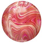 "Red & Pink Marblez Orbz XLTM Foil Balloons 15""/38cm w x 16""/40cm h G20 - 5 PC"