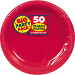 Apple Red Plastic Plates 18cm - 6 PKG/50