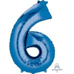"""Number 6 Blue SuperShape Foil Balloons 23""""/58cm w x 35""""/88cm h P50 - 5 PC"""