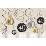 Gold Sparkling Celebration 40th Swirl Decoration Value Packs - 12 PKG/12