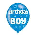 "Birthday Boy Blue Latex Balloons 11""/27.5cm - 10 PKG/6"