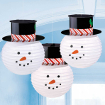 Snowman Paper Lanterns 24cm - 6 PKG/3