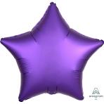 Purple Royale Star Satin Luxe Standard HX Foil Balloons S15 - 10 PC