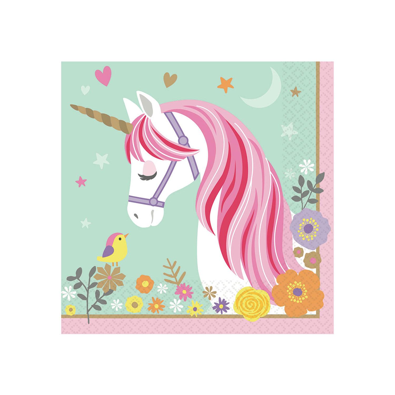 Magical unicorn luncheon napkins 33cm 12 pkg 16 amscan - Letras decorativas para habitaciones infantiles ...