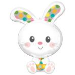 "Spotted Bunny SuperShape Foil Balloons 23""/58cm w x 29""/73cm h P35 - 5 PC"