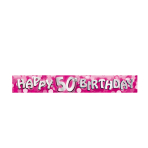 Happy 50th Birthday Foil Banners 2.7m - 12 PC