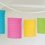 Multi-Colours Paper Lantern Garlands 3.65m - 6 PC