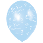 Communion Printed Blue Latex Balloons 27.5cm - 10 PKG/6