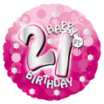 Pink Sparkle Party Happy Birthday 21st Standard Foil Balloons S40 - 5 PC