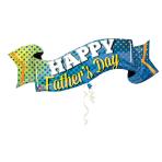 "Happy Father's Day Banner SuperShape Foil Balloons 40""/101cm x 19""/48cm P35 - 5  PC"