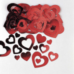 Hearts Die-Cut Red Mettallic Confetti 14g - 12 PKG
