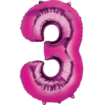 """Number 3 Pink Minishape Foil Balloons 16""""/""""40cm A04 - 5 PC"""