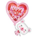 """Floating Valentine's Bear SuperShape Foil Balloons 26""""/66cm w x 31""""/78cm h P35   - 5 PC"""