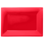 Apple Red Plastic Serving Platters - 6 PKG/3