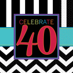 Celebrate 40th Luncheon Napkins 33cm - 12 PKG/16