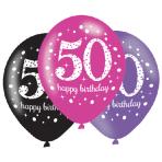 "Pink Sparkling Celebration 50th Happy Birthday Latex Balloons 11""/27cm - 6 PKG/6"