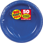 Bright Royal Blue Plastic Plates 18cm - 6 PKG/50