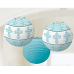 Blue Paper Printed Lanterns - 12 PKG/3