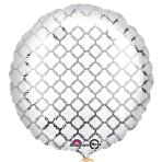 White & Silver Quatrefoil Standard Unpackaged Foil Balloons S30 - 10 PC