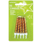 Gold Spiral Candles with Holders - 12 PKG/10