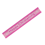 Happy Christening Pink Holographic Banner 2.7m - 12 PKG