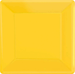 Sunshine Yellow Square Paper Plates 18cm  - 6 PKG/20