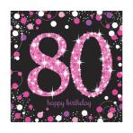 Pink Sparkling Celebration 80th Luncheon Napkins 33cm - 12 PKG/16