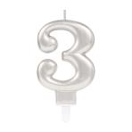 Silver Metallic Finish Candles #3 - 12 PC