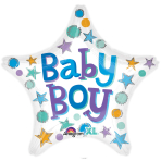 Baby Boy Star Standard Foil Balloons S40 - 5 PC